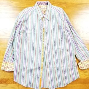 Robert Graham Rainbow Multicolor Button Up Shirt